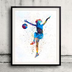 Woman soccer player 12 in watercolor - Fine Art Print Glicee Poster Home Watercolor sports Gift Room Illustration Wall - SKU 2324 by Paulrommer on Etsy