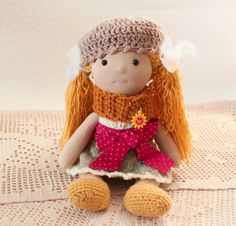 Rag doll handmade baby games Cloth doll doll handmade doll art textile doll rag doll doll doll doll collection interior red hair jeans - pinned by pin4etsy.com