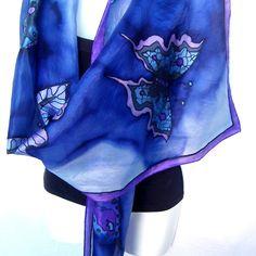 "Hand Painted Silk Scarf, Butterflies Silk Scarf, Midnight Blue Purple Black, 71"" x 18"" Silk Scarf, Gift For Her by silkshop on Etsy https://www.etsy.com/au/listing/286542421/hand-painted-silk-scarf-butterflies-silk"