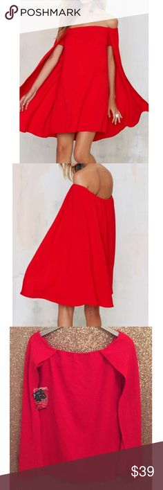 "NWT Nasty Gal Red Off The Shoulder Cape Dress Sz S Nasty Gal  Off-The-Shoulder Cape Dress  Flowy off-the-shoulder silhouette, cape design, darted bust, full lining, and removable adjustable shoulder straps.  Size S  Tencel & Spandex   New with tags!   Bust: 18"" across the front, lying flat.   Length: 28.5"" from top to bottom.  ✳️ Bundle to Save 20%!  ❌ No Trades, Holds, PP, Modeling   100% Authentic!   ⭐️⭐️ Suggested User • 1600+ Sales • Fast Shipper • Best in Gifts Party Host! ⭐️⭐️ Nasty…"