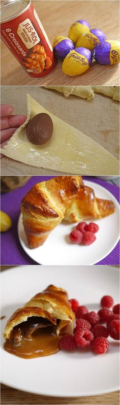 "Easy Chocolate Croissants....ummm can you say easter brunch?! Maybe use the mini eggs so it's ""healthier""?"