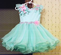 babydoll pageant dresses for toddlers | Aqua Glitz Crowning Dress