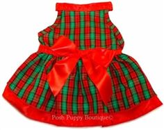 Red Green Plaid Dress with Satin Ribbon