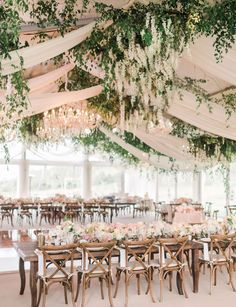 Reception tent with cascading flowers, draping and crystal chandeliers - Wedding . - Reception tent with cascading flowers, draping and crystal chandeliers – wedding - Bridal Shower Decorations, Reception Decorations, Wedding Centerpieces, Reception Table, Table Decorations, Chandelier Wedding Decor, Wedding Ceiling Decorations, Centerpiece Ideas, Marquee Decoration