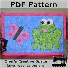 PDF Pattern for Frog & Butterfly Mug Rug Frog by ShersPatternShop