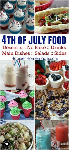 Fourth of July Food, Dessert and Cupcakes