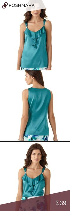 WHBM Size Small Silk Stretch Ruffle Layering Shell This top is up for sale! Stunning  ❤ brand new with partial tags ❤ silk stretch ❤ ruffle accent ❤ Size Measured in Pictures 🔍📏   ✅ Bundle up items and save 💲✅  ❤️I love reasonable offers. ❤️ 🎉 Pair w/jewelry, acc. or shoes🎉 🆕 New items every week! 🆕  I'm a mama on a mission. I sell items online to support my 2 sons. Every purchase is important to us. 😘 White House Black Market Tops Tank Tops