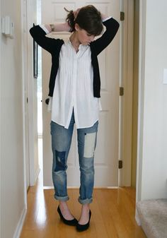 short, long, short - tunic blouse, cardi, rolled jeans