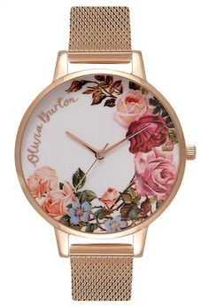 Add a pretty floral touch to your wrist this season with this charming watch inspired by beautiful English Gardens. English Garden, Chalk Blue and Rose Gold Watch Olivia Burton Garden Mesh, Stainless Steel Jewelry, Rose Gold Plates, Floral Prints, Nordstrom, Leather Watches, Gold Watches, Women's Watches, Wrist Watches