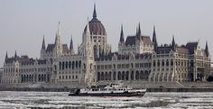 The largest Hungarian icebreaker for rivers, the Szechenyi moves and navigates through the ice-covered waters of the Danube River in front of the parliament building in Budapest Great Places, Places Ive Been, Places To Go, Beautiful Places, Winter Destinations, Travel Destinations, Danube River, The Weather Channel, Album