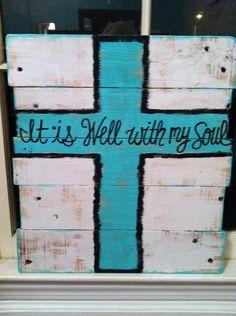 Wood Pallet Art -Cross- it is well...