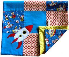 rocket quilts | Retro Rockets Handmade Pram Quilt