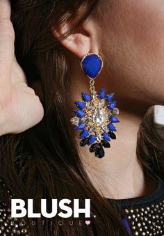 Stone Earrings #Earring #fashion #jewelry #blue #gold