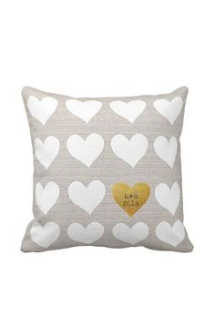 Personalized Hearts Wedding Pillow Cotton Anniversary Gift Pillow Cover Choose your initials and date