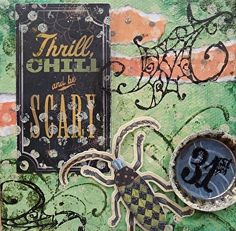 """Thrill Chill, by Susan Walker a mixed media piece for your favorite ghoal or goblin! $38.00~ 4"""" x 4"""""""