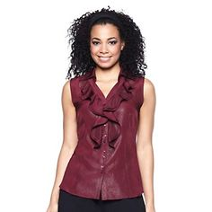 Queen Collection Metallic Ruffle Tank at HSN.com.Pair with your jeans or a pair of dress pants and top with a great jacket #HSN FALLFASHION