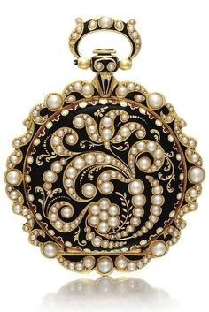 Gold, Enamel, and Pearl-Set Watch Swiss ca. 1840 – gilt cylinder movement – gold cuvette with scrolling engraved decoration – gilt dial, Roman numerals, engraved to the centre with floral motif – case back with scrolling pearl-set floral design on a. Pearl Jewelry, Antique Jewelry, Vintage Jewelry, Fine Jewelry, Jewelry Box, Antique Rings, Antique Watches, Vintage Watches, Antique Clocks