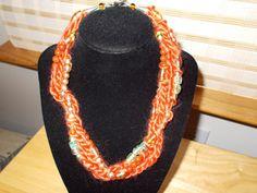 mixed media orange yarn beaded necklace 16 by JoyceBartoli on Etsy, $10.00