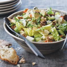 Chopped Salad with Blue Cheese Dressing | Green salad recipes include classic Caesar salad and a lemony Waldorf salad. Plus more greens salad recipes.
