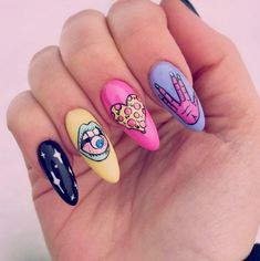 nail art inspiration for photoshoot Pink Tip Nails, Glam Nails, Cute Acrylic Nail Designs, Best Acrylic Nails, Hippie Nails, Pop Art Nails, Zombie Nails, Subtle Nails, Fire Nails