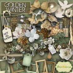 Golden Winter Megapack  Digital Scrapbook Kit by PickleStarScraps, $4.50