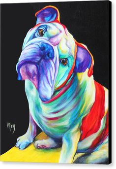 Pop Art Canvas Print featuring the painting English Bulldog by Meg Keeling Bulldog Drawing, Bulldog Tattoo, Animal Paintings, Animal Drawings, English Bulldog Art, English Bulldogs, Bulldog Puppies, Dog Portraits, Dog Pictures