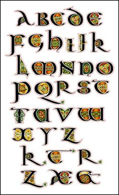 The Aon Celtic Art website features the artistic works of international artist Cari Buziak, including a gallery of works, free tutorials and clipart. Celtic Fonts, Celtic Art, Celtic Dragon, Creative Lettering, Lettering Styles, Illuminated Letters, Illuminated Manuscript, Celtic Alphabet, Alphabet Fonts