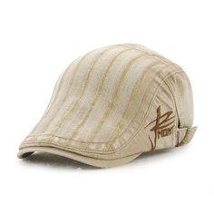 7587ee7ca38 Unisex Cotton Embroidery Stripe Beret Hat Duckbill Golf Flat Buckle Visor  Cabbie Cap For Men Women