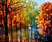 "Fall Alley 2 — PALETTE KNIFE Landscape Park Oil Painting On Canvas By Leonid Afremov - Size: 30"" x 24"" (75cm x 60cm)"