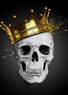 Royal Skull by Nicklas Gustafsson #skull #crown #crown #muerte #spatter #displate #artprint