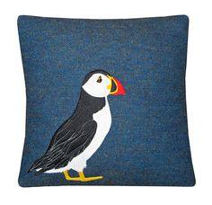 Rich Blue Harris Tweed Puffin Cushion
