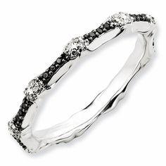 Black Diamond Wedding Bands in Sterling Silver