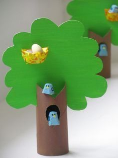 Toilet Paper Roll Crafts - Get creative! These toilet paper roll crafts are a great way to reuse these often forgotten paper products. Jumble Tree: Egg box bluebirds in a tree - Easter crafts Adorable paper roll spring or summer tree craft for kids Most o Paper Crafts For Kids, Projects For Kids, Fun Crafts, Arts And Crafts, Art Projects, Easter Crafts Kids, Creative Crafts, Toilet Paper Roll Crafts, Cardboard Crafts