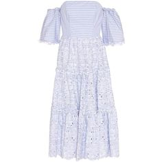 Erdem Off-the-Shoulder Cotton Eyelet Dress (275.890 RUB) ❤ liked on Polyvore featuring dresses, blue, knee-length, blue knee length dress, cotton eyelet dress, blue off the shoulder dress, knee length dresses and cotton day dresses