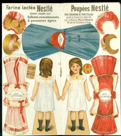 Farine Lactee Poupees Nestle Advertising Paper Doll w 3 Costume 4 Hats in Dolls & Bears, Paper Dolls, Vintage Victorian Paper Dolls, Vintage Paper Dolls, Vintage Art, Cardboard Box Crafts, Easy Paper Crafts, Paper Crafting, Paper Dolls Printable, Paper Toys, Miniature Dolls