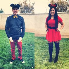 Modern Mickey and Minnie couples costume diy, HM red dress, black belt, black booties, over the knee stockings tights, custom ears, CA Angels new era hat, yellow bow tie suspenders, white gloves, red burgundy skinny skinnies pants, jack purcells, Disney Couple Halloween