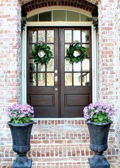 Double Doors With Magnolia Wreaths