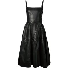 Vera Wang leather flared dress ($1,985) ❤ liked on Polyvore featuring dresses, black, spaghetti strap dress, flared skirt, vera wang, flared skirt dress and pleated circle skirt