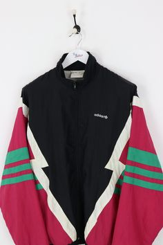 602c6a503f219 Adidas Shell Suit Jacket Black Red XL. Veste De Costume · Tenue Vintage ...