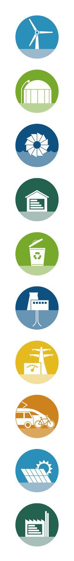 Für die Deutsche Klimatechnologie-Initiative (DKTI) haben wir eine Serie von Piktogrammen entworfen: Die Icons stehen für Technologien aus dem Bereich erneuerbare Energien.