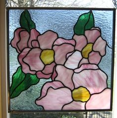 Flower Blossoms Stained Glass Window