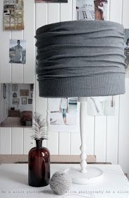 Cardigan Lampshade - using a sweater that fits snugly around a shade.  This is clever!  Via me and Alice