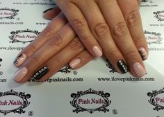 Black and Baby Pink Diamond Stud Nails
