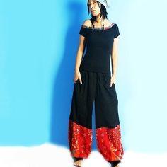 Linen pants with a cotton border