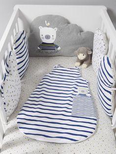 Tour de lit modulable MARIN PLAISIR gris/blanc - Vertbaudet