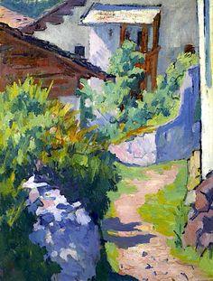 GIOVANNI GIACOMETTI (Stampa 1868-1933 Glion) Haus und Weg in Capolago. 1921
