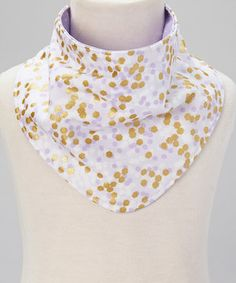 Another great find on #zulily! luna and bean Lavender & Gold Polka Dot Reversible Drool Bandanna by luna and bean #zulilyfinds