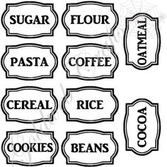 Kitchen Labels Vinyl Stickers Set of 10 by GoldWebDesign on Etsy Vinyl Labels, Printable Labels, Printables, Kitchen Labels, Pantry Labels, Coffee Jar Crafts, Spice Labels, Vinyl Monogram, Mason Jar Gifts