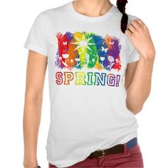 Spring Rainbow Flowers Butterflies Bird and Sun Tee Shirts