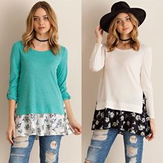 AMMIE roll up sleeve layered top - CREAM/MINT Solid roll up sleeve layered top featuring floral contrast. Non-sheer. Unlined. Knit. Light weight. 65%POLYESTER 35%RAYON NO TRADE, PRICE FIRM available in cream & dark mint (S & M only) Bellanblue Tops Tees - Long Sleeve